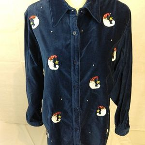 Quacker Factory Velour Shirt/Pant Set Blue Medium